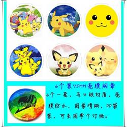 Pokemon Anime tinplate bright film badge round cloth brooch a set of six 75MM