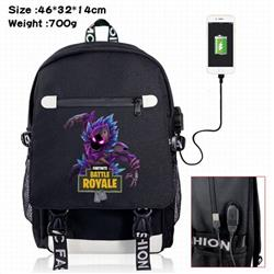 Fortnite-12 A Black Color data cable Backpack