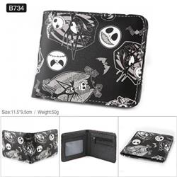 The Nightmare Before Christmas Full color PU twill two fold short wallet B734