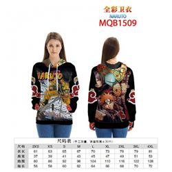 Naruto Full color zipper hooded Patch pocket Coat Hoodie 9 sizes from XXS to 4XL MQB1509