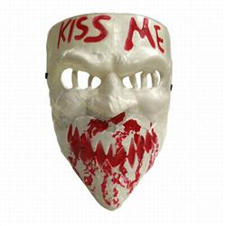 The Purge: Election Year White Kiss Me Cos Halloween Horror Funny Mask Props 60G 22.5X16.5CM a set price for 5 pcs
