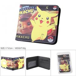 Pikachu Full color PU silk screen two fold short card holder wallet
