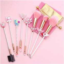 Card Captor Sakura Milky silver makeup brush a set of eight Cloth bag 15.5-19.5CM price for 2 set