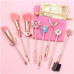 Card Captor Sakura Light rose gold makeup brush a set of eight Cloth bag 15.5-19.5CM price for 2 set