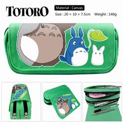 Totoro green Anime double layer multifunctional canvas pencil bag stationery box wallet 20X10X7.5CM 140G