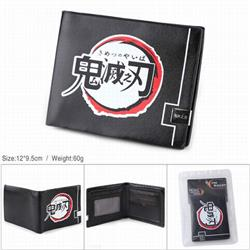Demon Slayer Kimets PU full color silk screen two fold short card bag wallet purse 12X9.5CM 60G