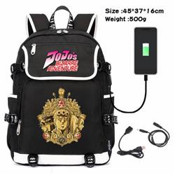 JoJos Bizarre Adventure-012 Anime 600D waterproof canvas backpack USB charging data line backpack