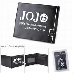 JoJos Bizarre Adventure PU full color silk screen two fold short card bag wallet purse 12X9.5CM 60G