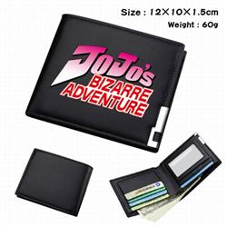 JoJos Bizarre Adventure-032 Black Anime Short Folding Leather Wallet 12X10X1.5CM 60G