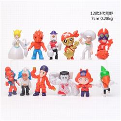 Brawl Stars 3th generation a set of 12 Bagged Figure Decoration Model 7CM 0.28KG a box of 50 sets