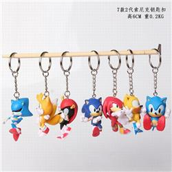 Sonic the Hedgehog 2nd generation a set of 7 Keychain pendant 6CM 0.2KG