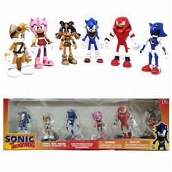 Sonic The Heogehog a set of 6 Boxed Figure Decoration Model 6.8-9CM 0.26KG