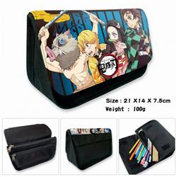 Demon Slayer Kimets-5B Anime double layer multifunctional canvas pencil bag wallet 21X14X7.5CM 100G