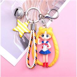 Chain sailormoon beautiful girl keychain pendant with bell price for 2 pcs