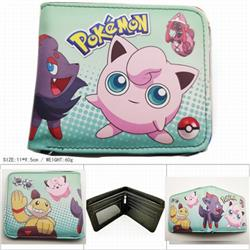 Pokemon Short color picture two fold wallet 11X9.5CM 60G