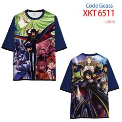 Code Geass Loose short-sleeved T-shirt with black (white) edge 9 sizes from S to 6XL XKT6511
