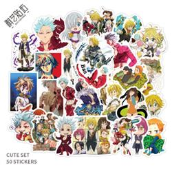 seven deadly sins anime waterproof stickers set(50pcs a set) price for 5 set