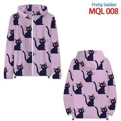 sailormoon Anime full color jacket hooded zipper trench coat MQL 009
