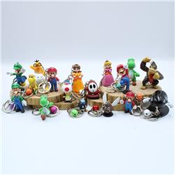 super mario figure keychain 6-10cm price for 18 pcs/set