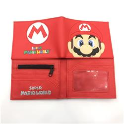 2 Styles Super Mario Bro Cartoon Pattern PU Coin Purse Anime Wallet