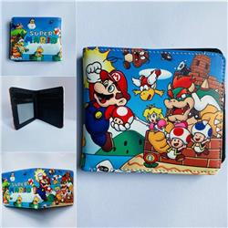 2 Styles Super Mario Bro Cartoon Colorful Coin Purse Bifold PU Anime Short Wallet
