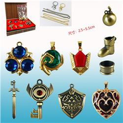The Legend Of Zelda Cosplay Collection Alloy Anime Necklace+Keychain (10pcs/set)